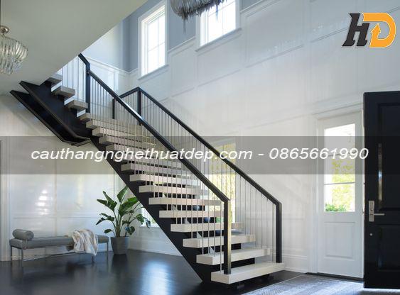 Thiết kế lan can cầu thang đơn giản , hiện đại