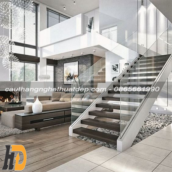 Mẫu cầu thang xương cá hiện đại, tạo điểm nhấn trong không gian của ngôi nhà