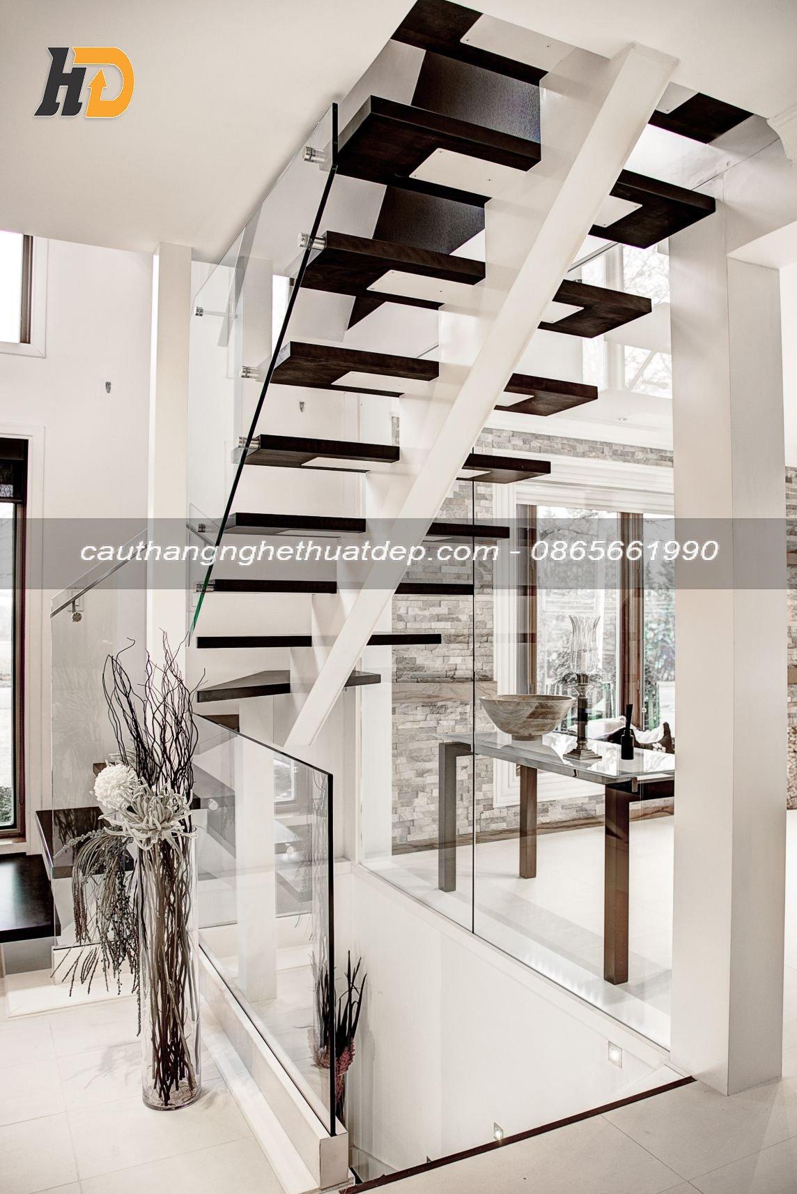 Cầu thang xương cá mang phong cách hiện đại, mềm mại