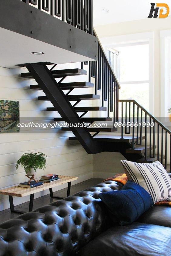 Thiết kế cầu thang xương cá với khung xương i đơn giản, gọn gàng