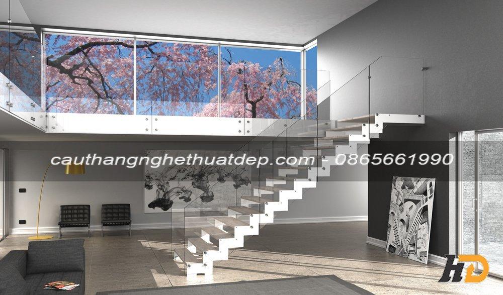 Cầu thang xương cá lan can kính cho không gian biệt thự và nhà phố